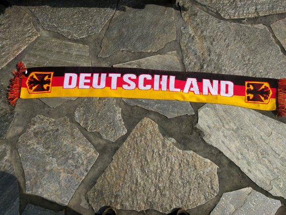 Knitted Deutschland Fan Shawl/Scarf in German colors with German Eagle crest