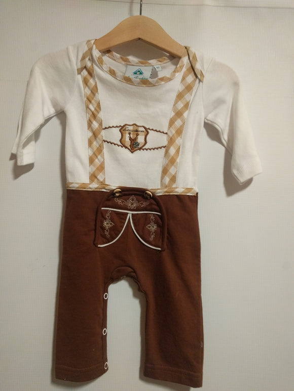 Baby Lederhosen  Onesie with Long Legs and Sleeves