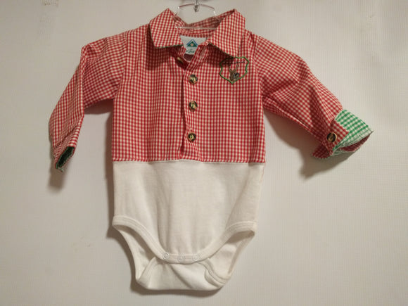 Baby LAUS BUA  Checkered Shirt Onesie