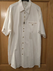 Short Sleeve white Men Trachten Shirt with embroidery in the front