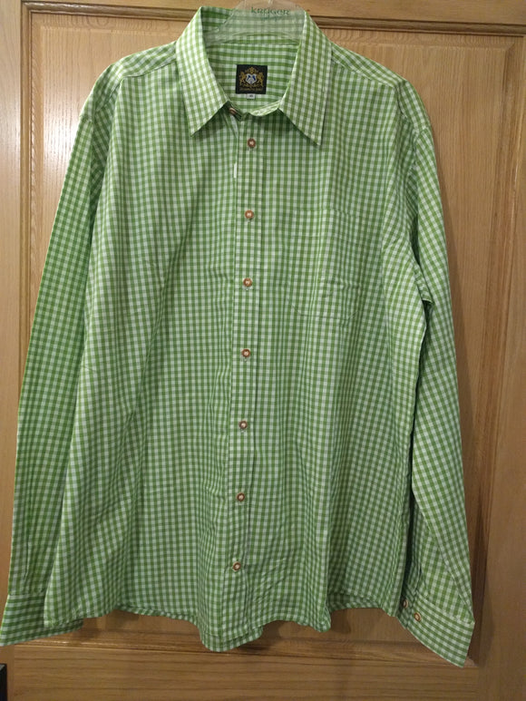 Green and white big checkered Men Trachten Shirt Hammerschmid