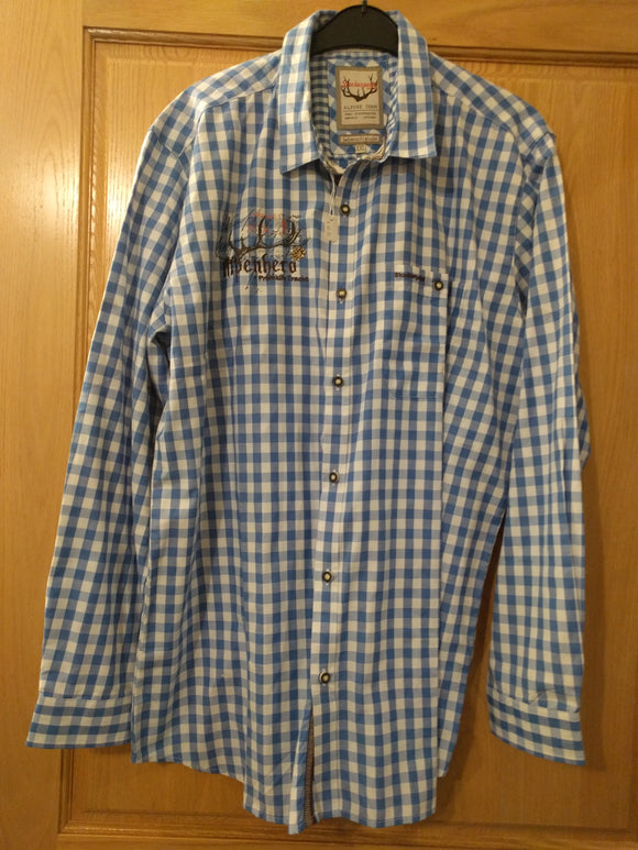 Blue White checkered Stockerpoint Men Trachten Shirt