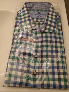 OS Trachten  Green Blue and White Checkered Men Trachten Shirt