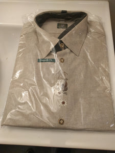 Beige Men Trachten Shirt with embroidery