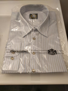 Small blue grey and white pattern Men Trachten Shirt