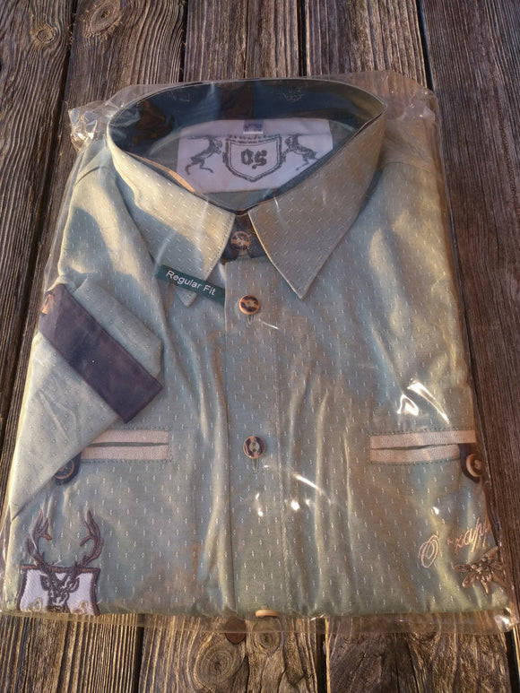Men Trachten Shirt green beige small pattern with embroidery and pewter Edelweiss Decor