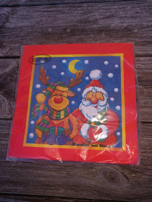 Rudolph the Ted Nosed Reindeer and Santa Christmas Napkins