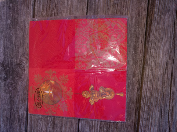 Red Wintertime Advent Christmas Napkins