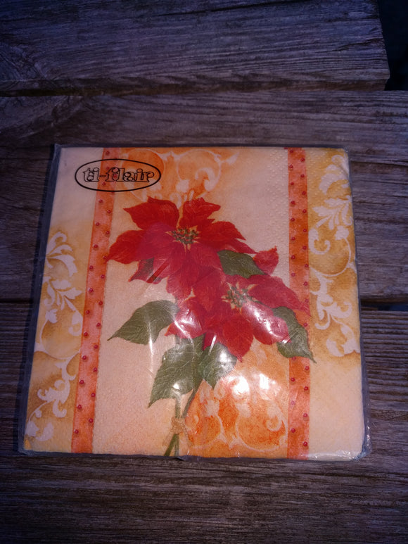 Red Poinsettias Small  Christmas Napkins