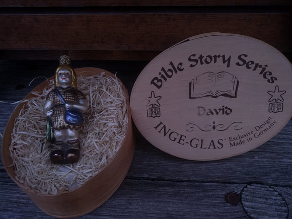 Inge Glas The Bible Story Series  Christmas Mouth Blown and Hand Painted  Glass Ornament David