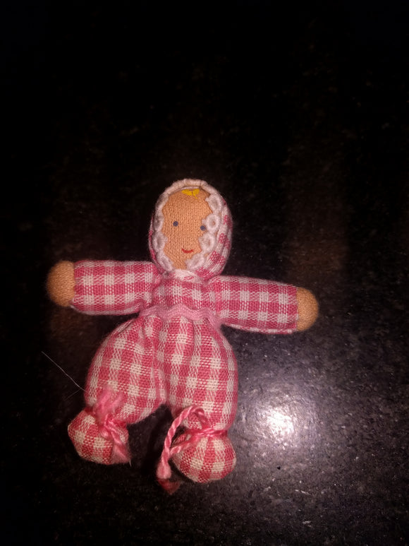 Waldorf Bendy Doll Biegepuppe Baby  with Pink White Checkered Outfit