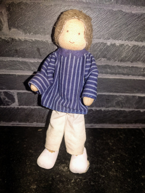 Waldorf Bendy Doll Biegepuppe Boy with Blue /Grey Striped Shirt