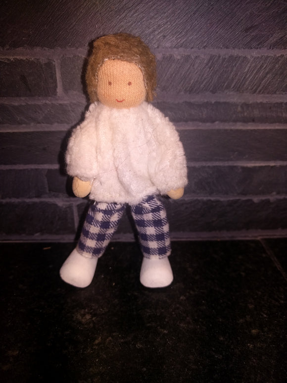 Waldorf Bendy Doll Biegepuppe Child  with white sweater and blue/white checkered Pants