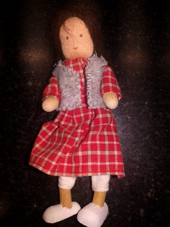 Waldorf Bendy Doll Biegepuppe Women with Dress and Vest