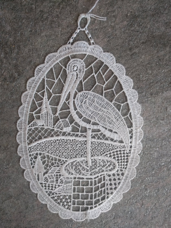 White Plauener Lace  Window Picture Stork