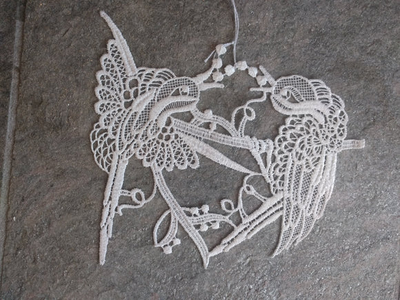 White Plauener Lace  Window Picture 2 birds fighting for worm