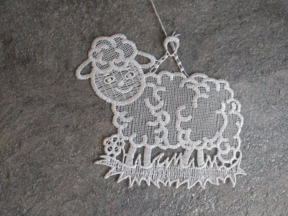 White Plauener Lace  Window Picture sheep