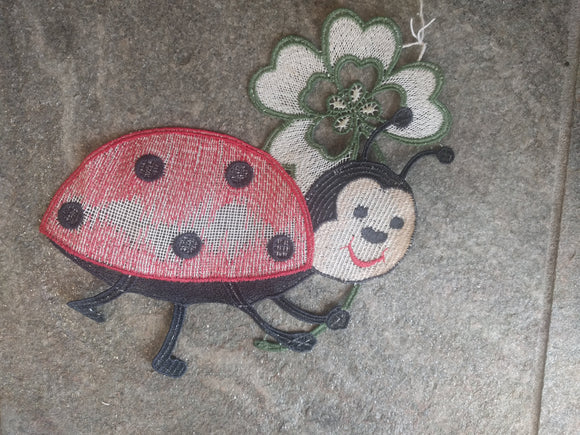 Multicolor  Plauener Lace  Window Picture Lady Bug