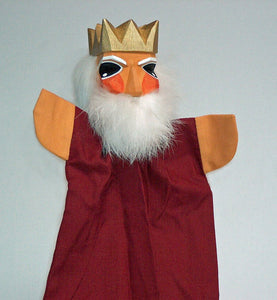 KIng on a Stick Hand Carved Hand Puppet