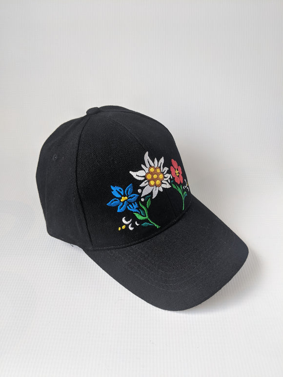 Embroidered Alpine Flower Cap