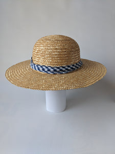 Wide Rim Braided Straw Hat With Bavarian Blue/White Checkered Band
