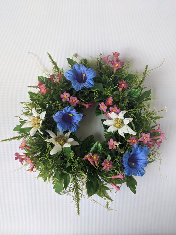 Silk Alpine Flower Wreath