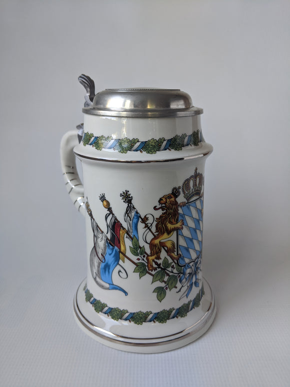 Porcelain Bavarian Crest  Beer Stein With Pewter Lid Mug