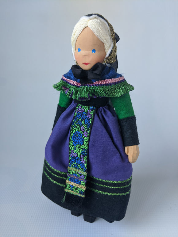 German Hand Made Wooden Trachten Doll