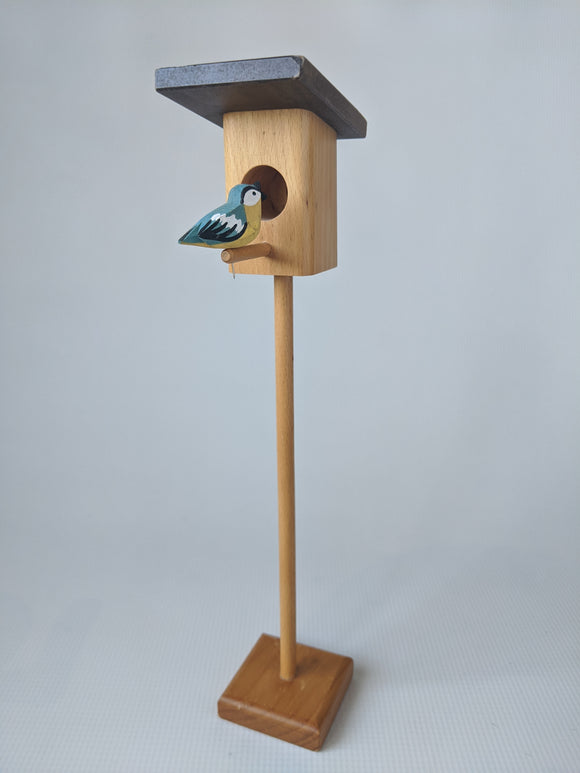 Hand Made Wooden Bird House With Hand Carved Wooden  Bird
