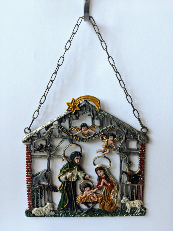 German Pewter Nativity, hand painted
