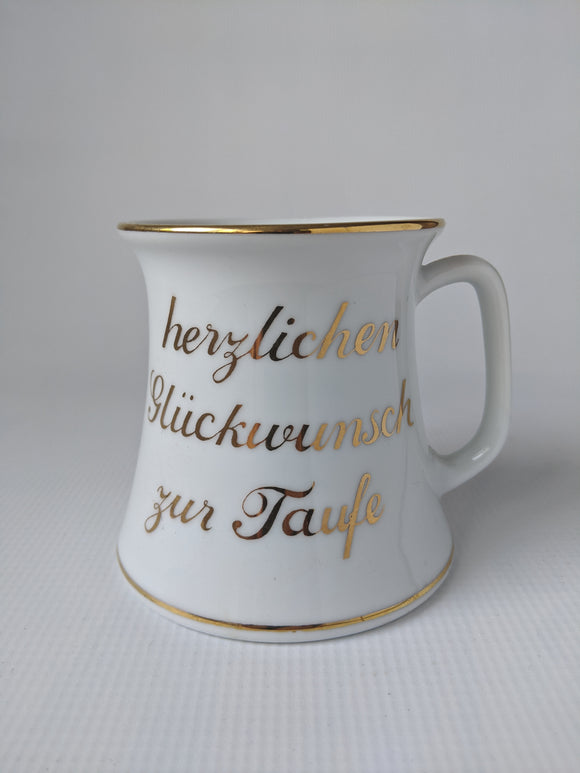 German Porcelain  Baptism Mug