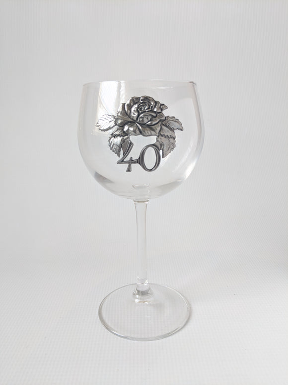 Anniversary Crystal Wine Glass with Pewter Decoration