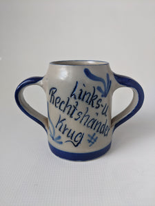 Hand Made Salt Glazed Pottery  Left and Right Hand Mug