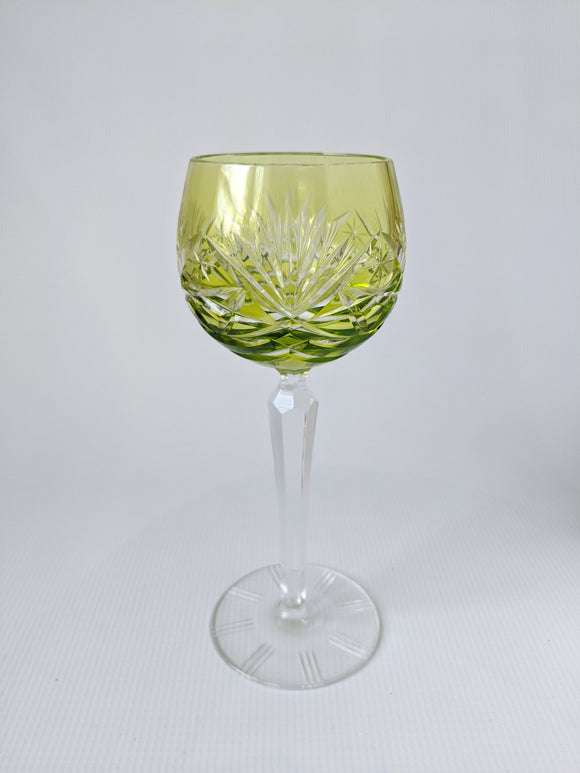 Hand Cut Green Crystal Wine ROEMER Glass