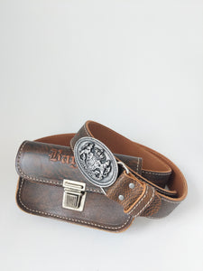 Leather Belt with Bayern Imprinted Purse and Bavarian Crest Buckle