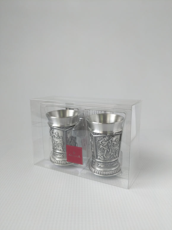 Pewter  Schnaps cups with German Scene