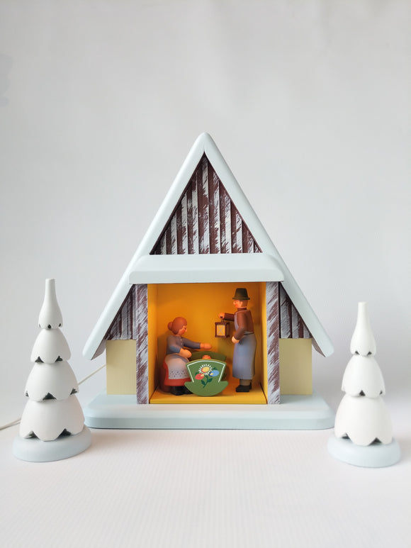 Electric lit Hand Made Wooden  Bavarian Style Nativity Set with 3 Trees
