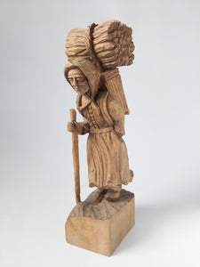 "Hand carved Wooden Figurine "" Firewood Collecting Women"