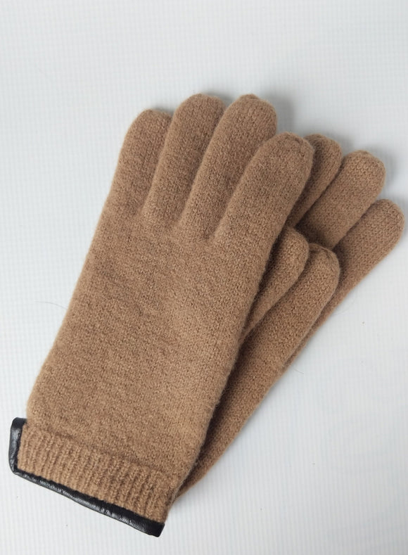 Virgin Wool Gloves with Leather Trim