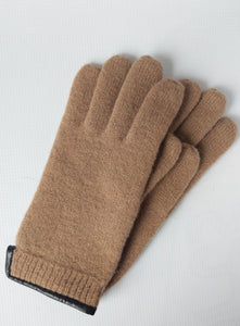 Wool Gloves with Leather Trim