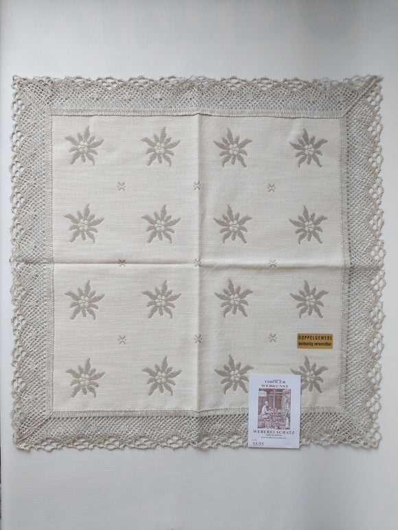 Woven Linen Tablecloth with Edelweiss Design