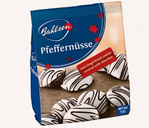 Bahlsen Pfeffernuesse Gingerbread cookies covered with white and chocolate flavored icing