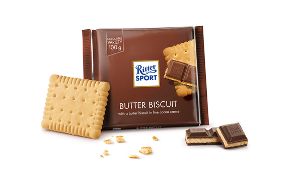 Ritter Sport Milk Chocolate with Butter Biscuit & Cocoa Creme filling Knusperkeks