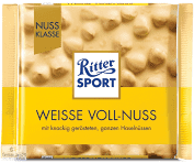 Ritter Sport Weisse Voll-Nuss  white Chocolate with Whole Hazelnuts