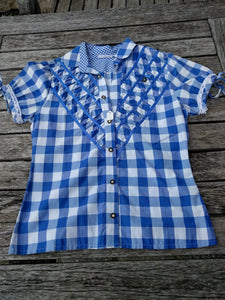 Blue White Checkered  Women Blouse