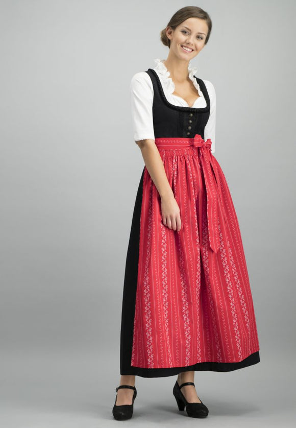 Black Dirndl with Blouse and Apron, 3 pc set
