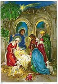 10075 Korsch  Glitter Advents Calendar Nativity  with Shepard