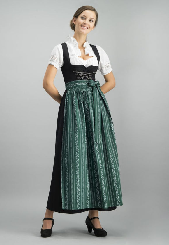 Black Dirndl with apron and white blouse 3 pc set