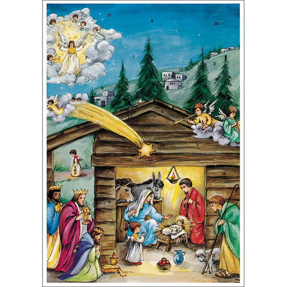 Advents Calendar Nativity Scene with Glitter