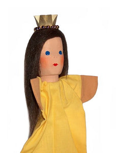Princess with yellow dress Hand carved Glove Puppet